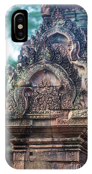 Cambodia iPhone Case - Cambodian Temple Details Banteay Srey by Mike Reid