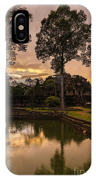 Cambodia iPhone Case - Cambodian Temple Sunset by Mike Reid