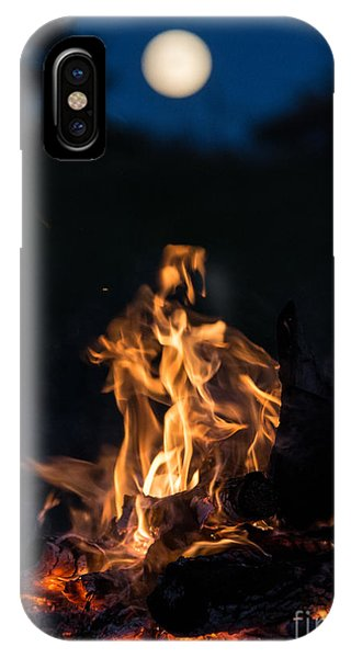 Camp Fire And Full Moon IPhone Case