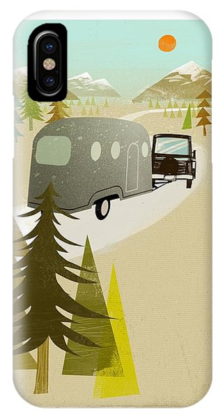 Caravan iPhone Case - Camper Driving Into The Mountains by Gillham Studios