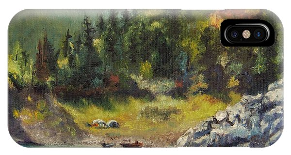 Camping On The Lake Shore IPhone Case