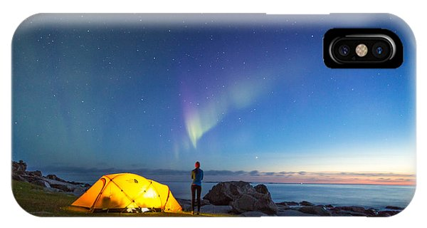Camping Under The Northern Lights IPhone Case