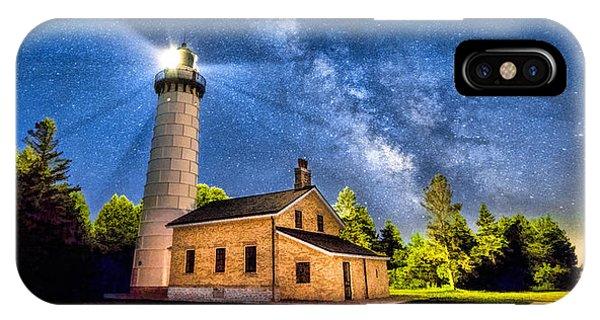 Cana Island Lighthouse Milky Way In Door County Wisconsin IPhone Case