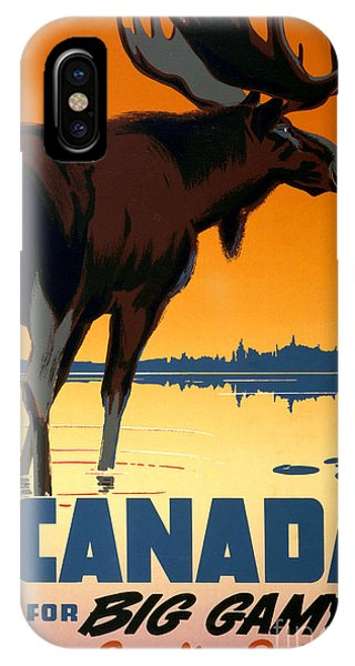 Canada Big Game Vintage Travel Poster Restored IPhone Case