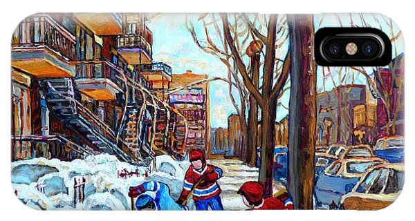 Canadian Art Street Hockey Game Verdun Montreal Memories Winter City Scene Paintings Carole Spandau IPhone Case