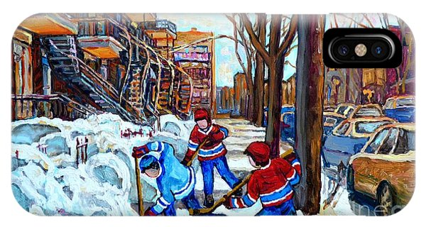 Canadian Art Street Hockey Game Verdun Montreal Memories Winter City Scene Paintings Carole Spandau IPhone Case