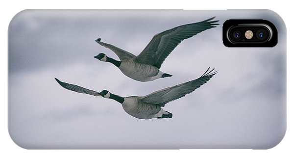 IPhone Case featuring the photograph Canadian Geese In Flight by Jason Coward