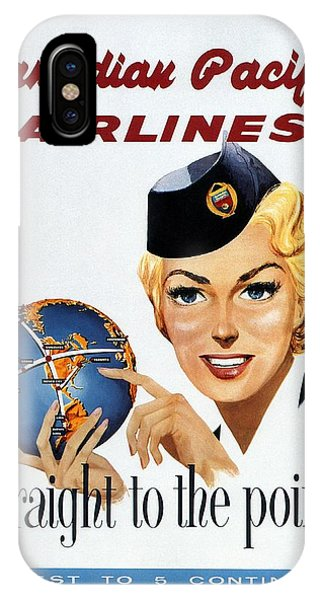 Advertising iPhone Case - Canadian Pacific Airlines - Straight To The Point - Retro Travel Poster - Vintage Poster by Studio Grafiikka