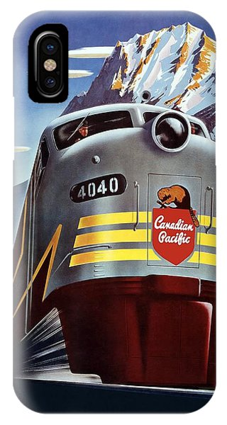 Advertising iPhone Case - Canadian Pacific - Railroad Engine, Mountains - Retro Travel Poster - Vintage Poster by Studio Grafiikka