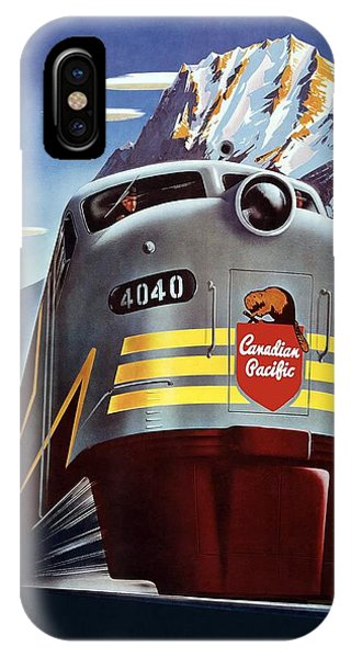 Canadian Pacific - Railroad Engine, Mountains - Retro Travel Poster - Vintage Poster IPhone Case