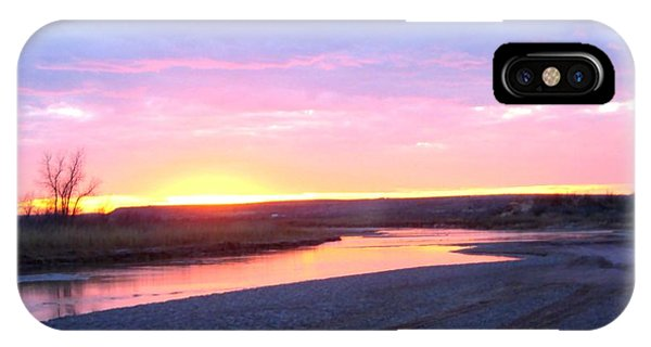 IPhone Case featuring the photograph Canadian River Sunset by Deleas Kilgore