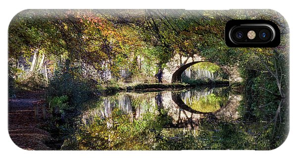 Canal Path In Autumn IPhone Case