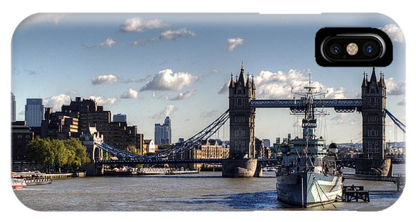iPhone Case - Canary Wharf Tower Bridge And Hms Belfast by Chris Day
