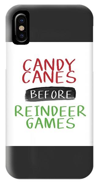 Reindeer iPhone Case - Candy Canes Before Reindeer Games- Art By Linda Woods by Linda Woods