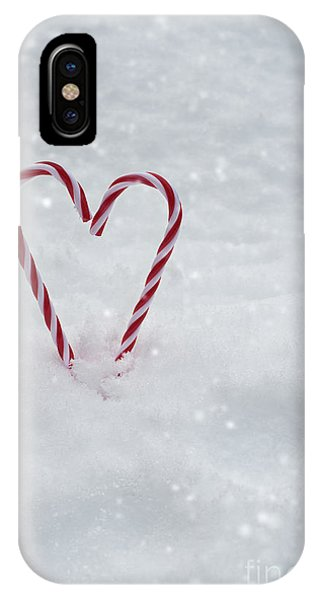 Frost Glass iPhone Case - Candy Canes In Snow by Amanda Elwell