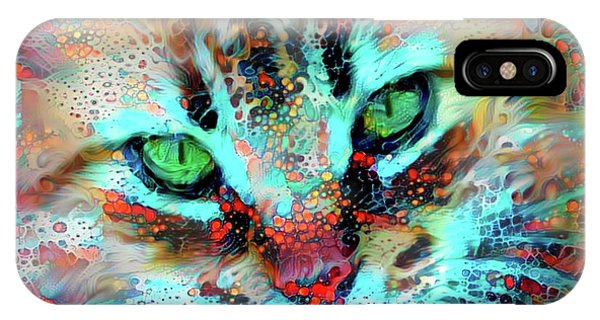 Candy The Colorful Green Eyed Cat IPhone Case