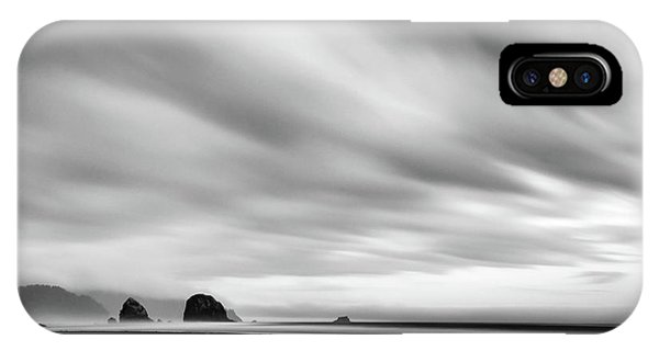 Cannon Beach Long Exposure Sunrise In Black And White IPhone Case