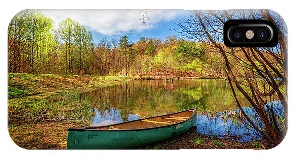 Chilhowee iPhone Case - Canoe At Lakeside by Debra and Dave Vanderlaan