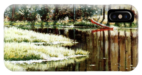 Canoe On Pond IPhone Case