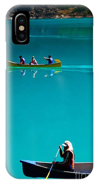 Canoeing On Glaciel Waters IPhone Case