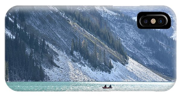 Canoeing On Lake Louise IPhone Case