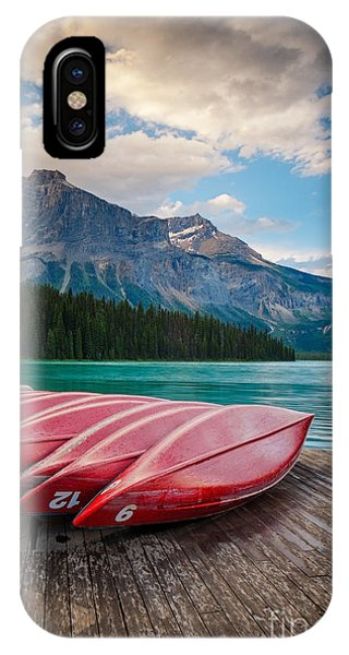 IPhone Case featuring the photograph Canoes At Emerald Lake In Yoho National Park by Bryan Mullennix