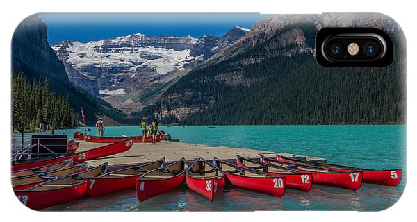 Canoes On Lake Louise IPhone Case