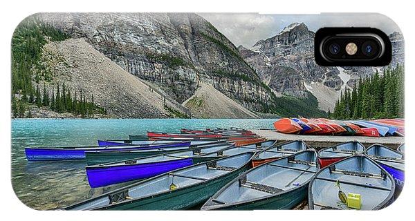 Canoes On Moraine Lake  IPhone Case