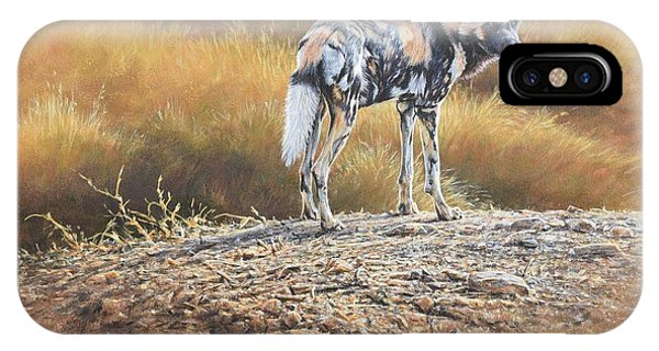 IPhone Case featuring the painting Cape Hunting Dog by Alan M Hunt