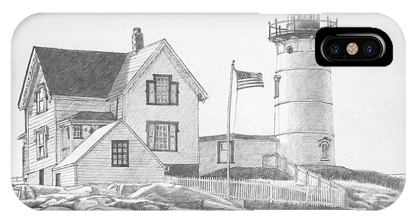IPhone Case featuring the drawing Cape Neddick Light House Drawing by Dominic White