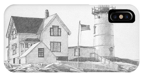 Cape Neddick Light House Drawing IPhone Case