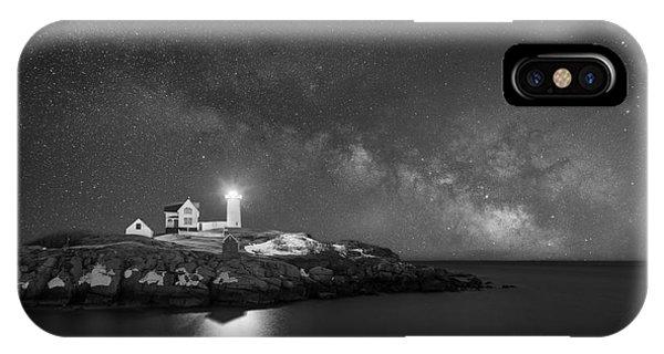 Nubble Light iPhone X Case - Cape Neddick Light Milky Way Bw by Michael Ver Sprill