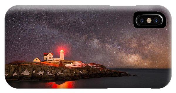 Nubble Light iPhone X Case - Cape Neddick Light Milky Way by Michael Ver Sprill