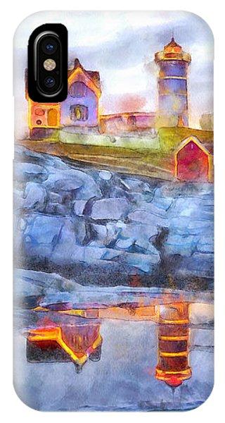 Cape Neddick Light Watercolor IPhone Case