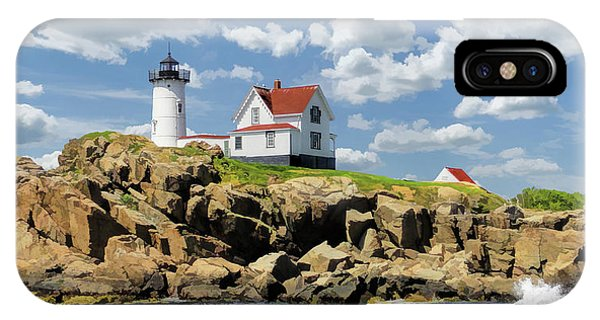 IPhone Case featuring the painting Cape Neddick Lighthouse by Christopher Arndt
