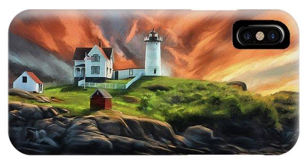 Cape Neddick Lighthouse iPhone Case - Cape Neddick Nubble Lighthouse by Lois Bryan