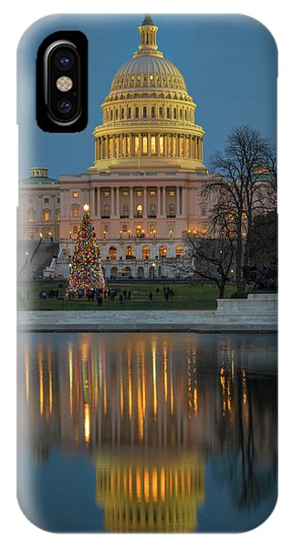 IPhone Case featuring the photograph Capitol Reflection At Christmas by Cindy Lark Hartman