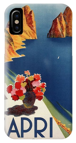 Office iPhone Case - Capri Island, Bay Of Naples, Italy - Retro Travel Poster - Vintage Poster by Studio Grafiikka