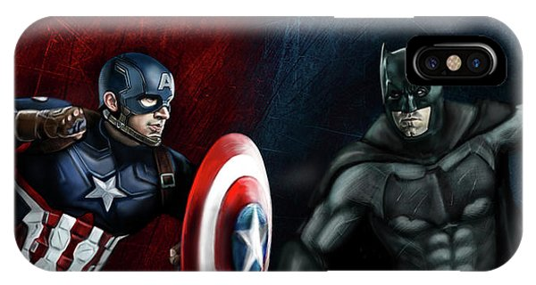 Ben Affleck iPhone Case - Captain America Vs Batman by Vinny John Usuriello