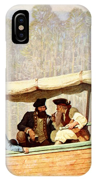 Flooded iPhone Case - Captain Flood At A Meeting In A Cutter by Newell Convers Wyeth