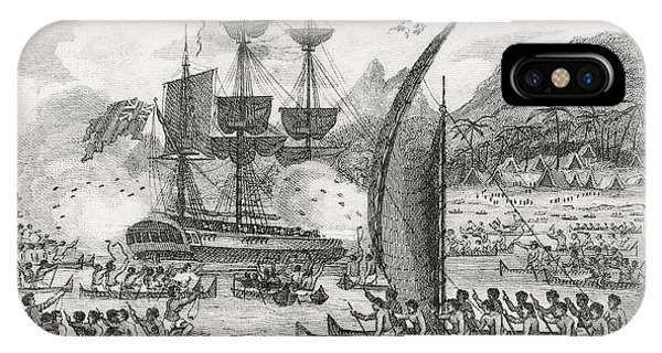 Pacific Ocean iPhone Case - Captain Wallis Attacked By The Indians, 1767  by English School