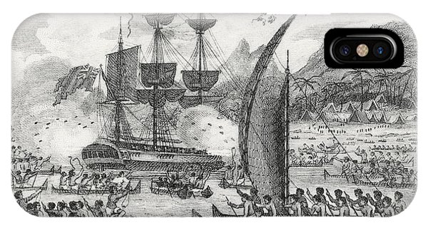 British Empire iPhone Case - Captain Wallis Attacked By The Indians, 1767  by English School