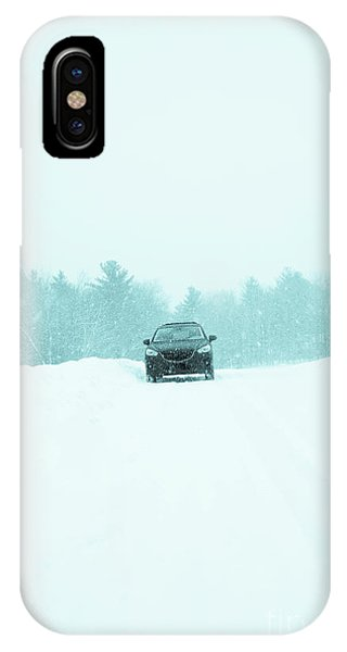 New Hampshire iPhone Case - Car In A Snow Storm by Edward Fielding
