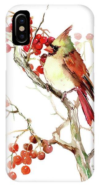 Cardinal Bird And Berries IPhone Case