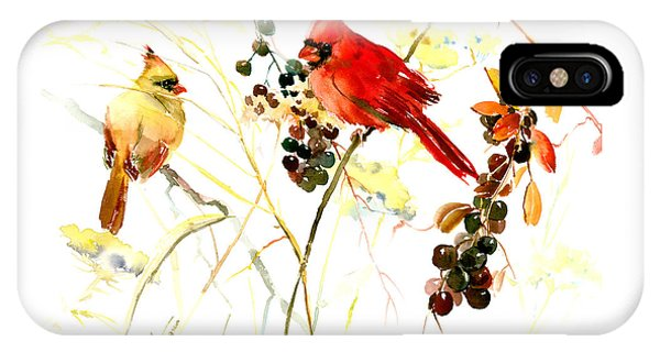 Cardinal Birds And Berries IPhone Case
