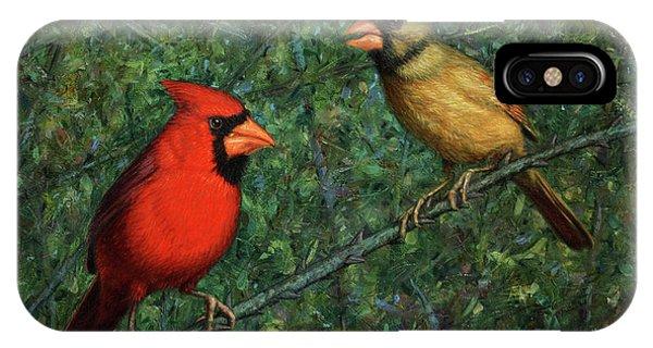 Cardinal iPhone Case - Cardinal Couple by James W Johnson