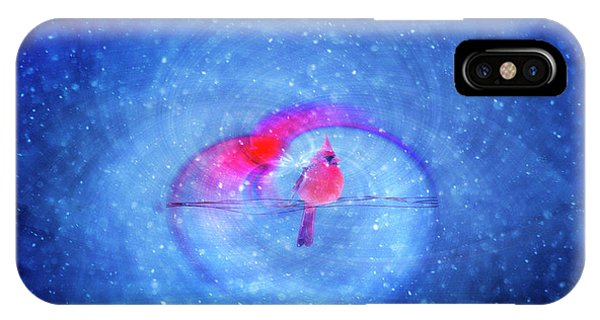 IPhone Case featuring the photograph Cardinal In A Heart by Wanda Krack