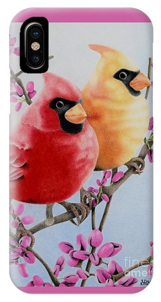 Flora iPhone Case - Cardinal Love  by Sharon Patterson
