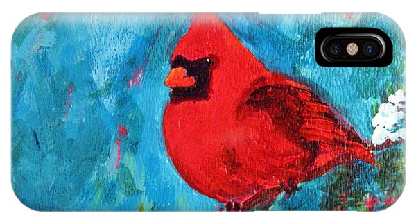 Cardinal Red Bird Watercolor Modern Art IPhone Case