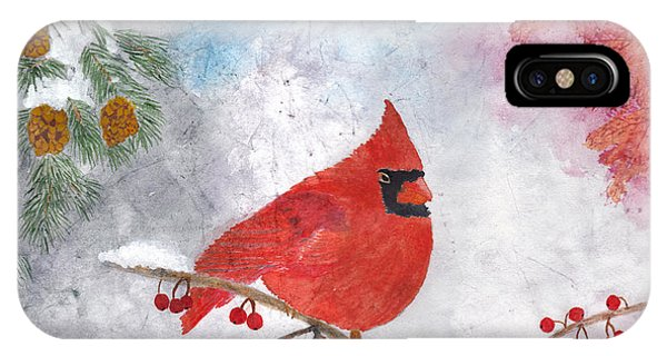 Cardinal With Red Berries And Pine Cones IPhone Case